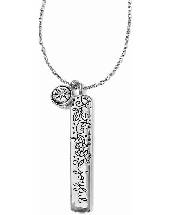 Brighton JM0731 Every Little Thing Joyful Necklace silver bar necklace with bliss etched