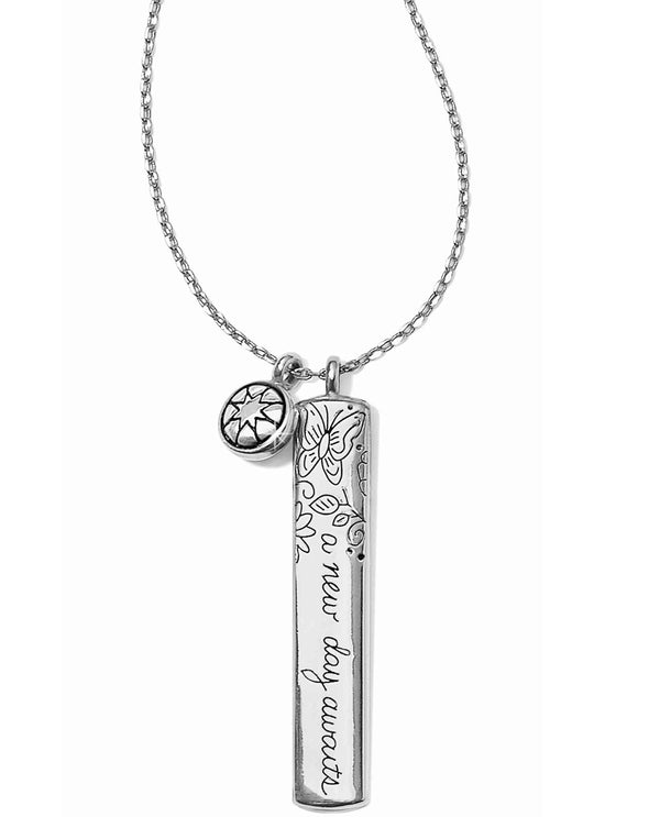 Brighton JM0711 Every Little Thing New Day Necklace silver bar necklace with a flower design
