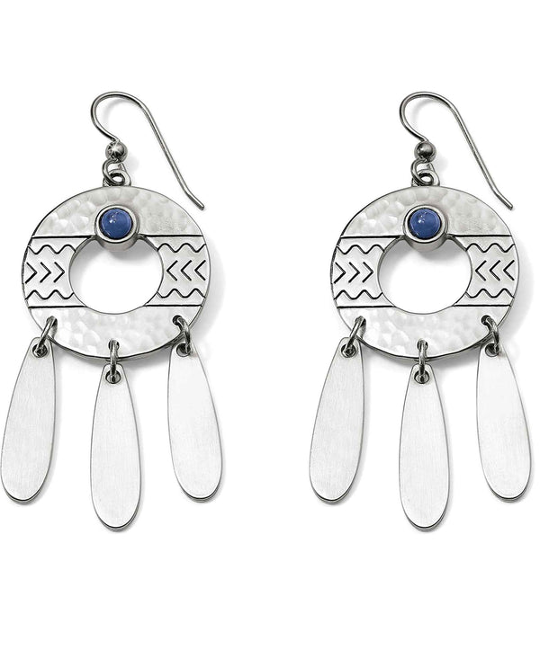 Brighton JA5032 Marrakesh French Wire Earrings hammered silver earrings with blue sodalite