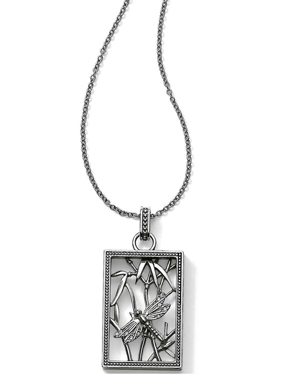 Brighton JM0230 Solstice Large Frame Dragonfly Necklace silver dragonfly necklace with Swarovski