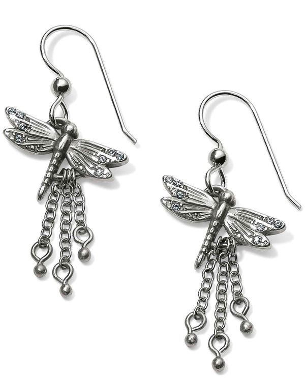 Brighton JA5010 Solstice Dragonfly French Wire Earrings silver dragonfly earrings with tassels