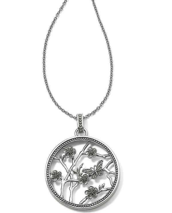 Brighton JM0210 Sakura Round Convertible Necklace silver cherry blossom necklace with butterfly
