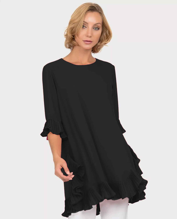 Joseph Ribkoff 191239 Black Pleat Sleeve & Hem Tunic