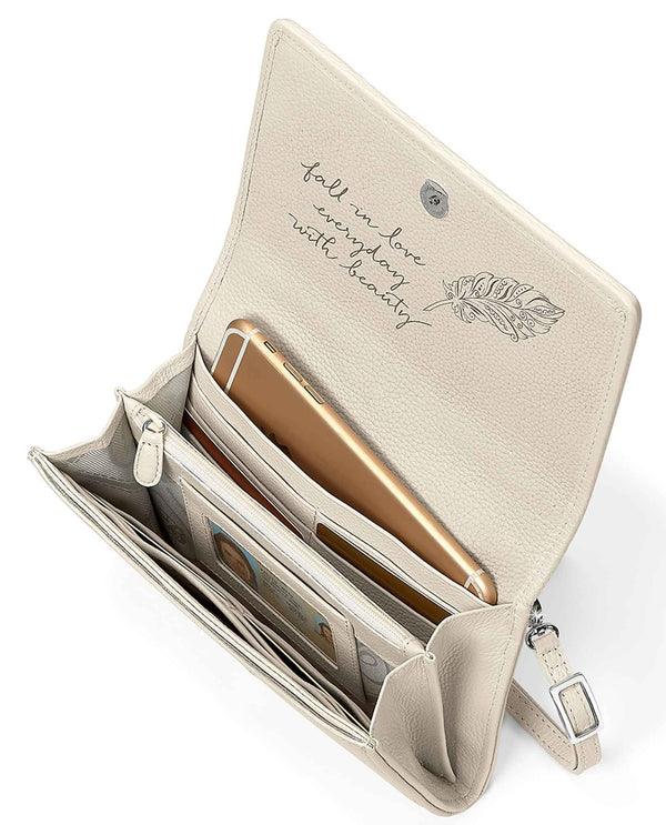 Brighton T43872 Clementine Organizer white leather crossbody bag with card slots