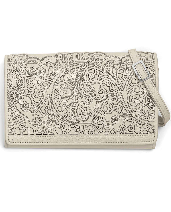 Brighton T43872 Clementine Organizer white leather crossbody bag with lace like design