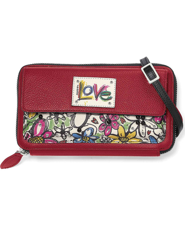 Brighton T3517M Scribble Garden Organizer Wallet red leather organizer with floral print