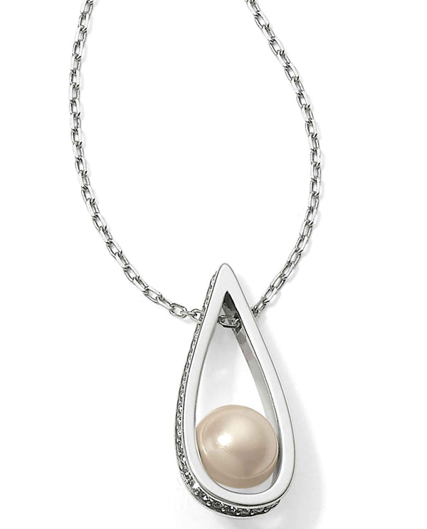 Brighton JM060A Chara Ellipse Spin Short Necklace teardrop necklace with pave Swarovski and pearl