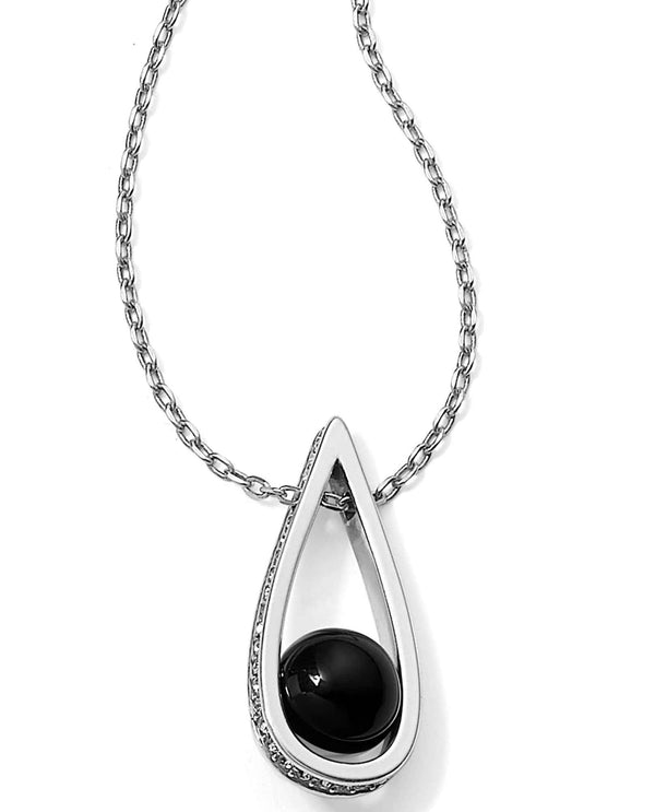 Brighton JM060B Chara Ellipse Spin Short Necklace teardrop necklace with black agate sphere