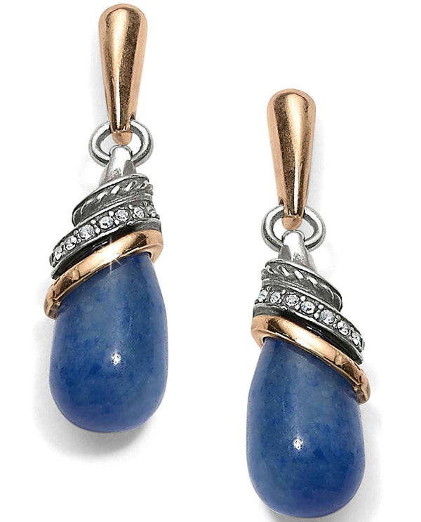 Brighton JA497A Neptune's Rings Brazil Blue Quartz Teardrop Earrings