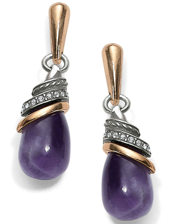 Brighton JA497C Neptune's Rings Amethyst Teardrop Earrings
