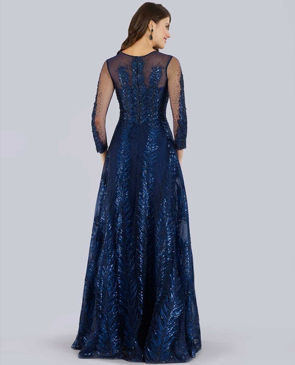 Lara 29767 3/4 Sleeve Feather Dress navy blue sparkling ballgown with 3/4 lace sleeves