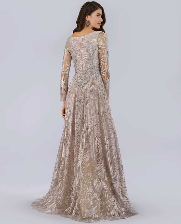 Lara 29753 Long Sleeve V-Neck Ballgown stone nude long sleeve lace ballgown with rhinestones