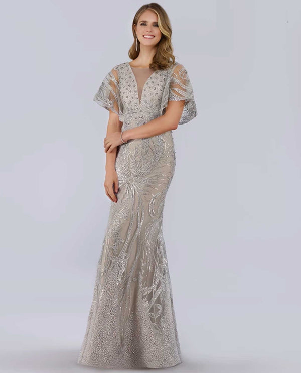 Lara 29756 Butterfly Sleeve Gown silver gown with butterfly sleeves and rhinestone beading