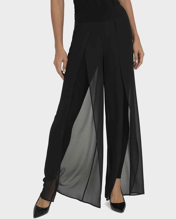 Joseph Ribkoff 193231 Black Pull On Pants with sheer Overlay