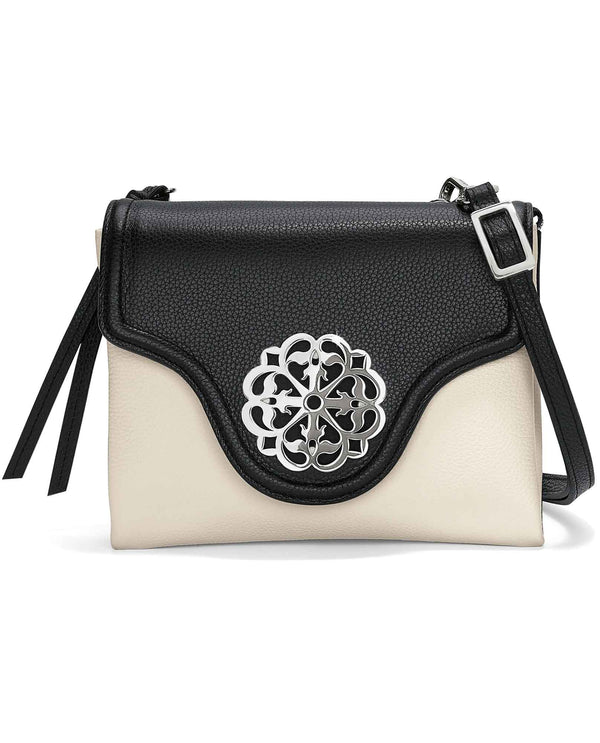 Black white Brighton H3682B Eve Messenger Cross Body leather crossbody bag with flap