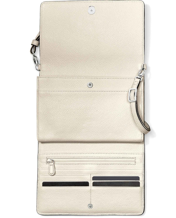 Brighton T43982 Ferrara Classic Slim Organizer white leather organizer crossbody with card slots