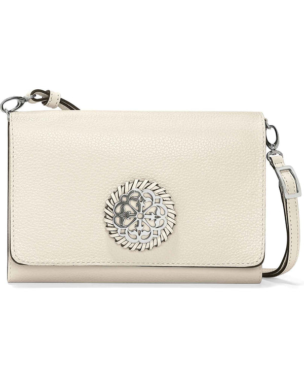 Brighton T43982 Ferrara Classic Slim Organizer white leather organizer crossbody purse