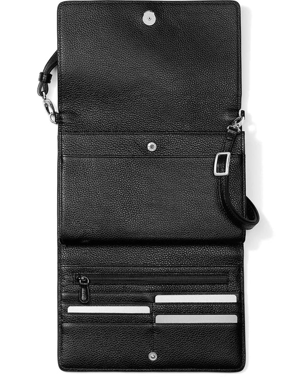 Brighton T43983 Ferrara Classic Slim Organizer black leather crossbody organizer