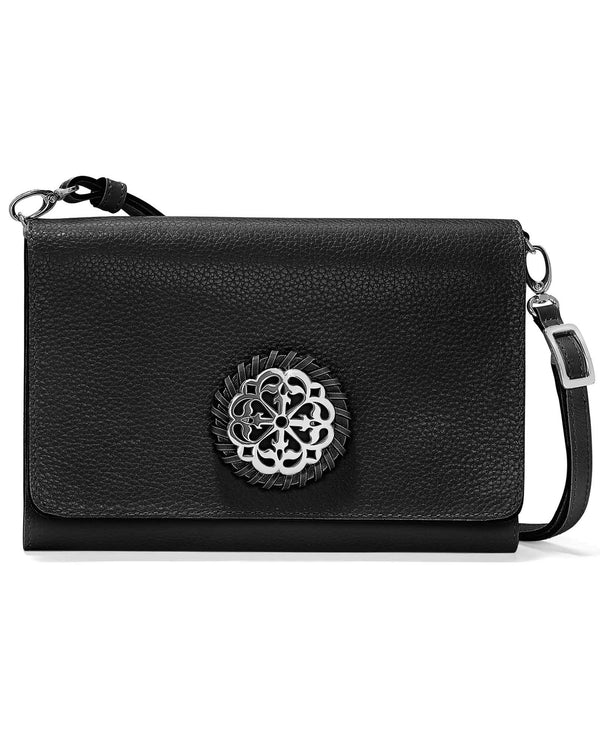 Brighton T43983 Ferrara Classic Slim Organizer smooth black leather crossbody organizer