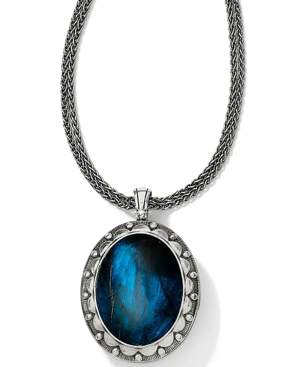 Brighton JM085A Precious Momento Locket Necklace with sapphire blue stone and holds 2 photos