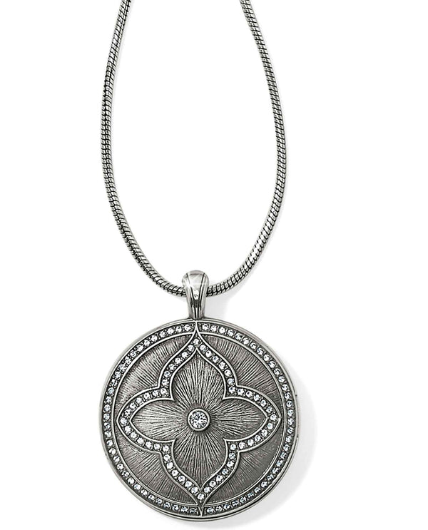 Brighton JL9221 Toledo Alto Noir Convertible Locket Necklace silver round locket necklace