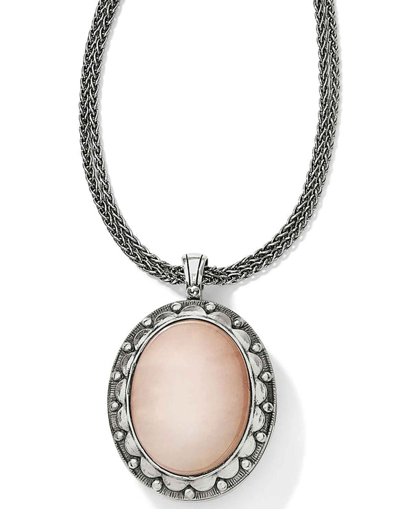 Brighton JM085B Precious Momento Locket Necklace with a rose quartz stone on the front