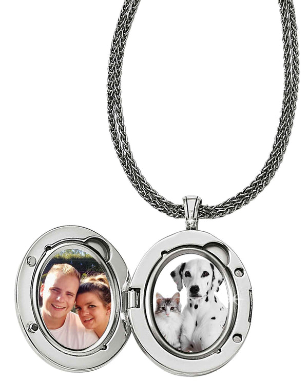 Brighton JM085C Precious Star Locket silver oval locket necklace that holds two photos
