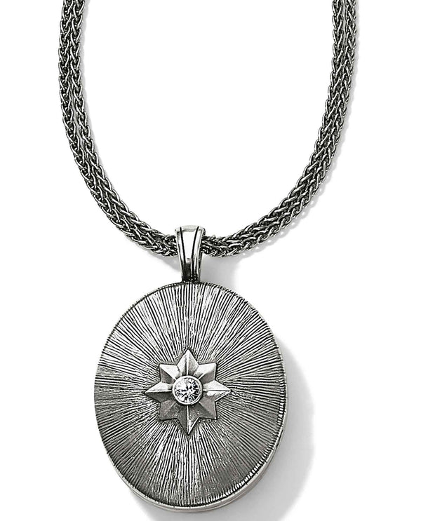 Brighton JM085C Precious Star Locket silver oval locket necklace with a Swarovski crystal