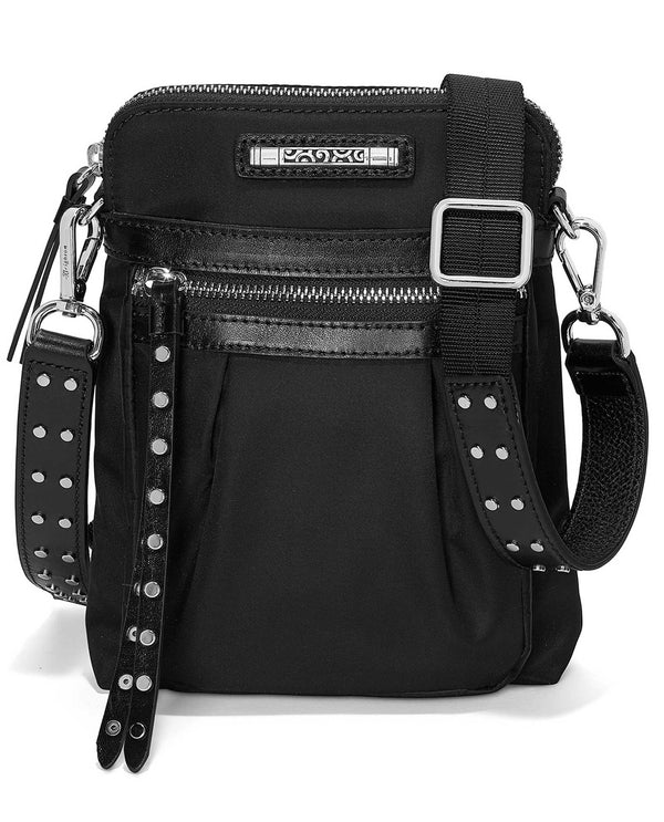 Brighton H15253 black Boston Small Cross Body bag with studs and adjustable strap