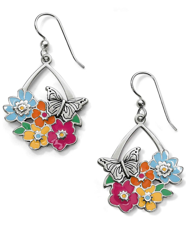 Brighton JA5273 Enchanted Garden Flower French Wire Earrings with butterflies and flowers