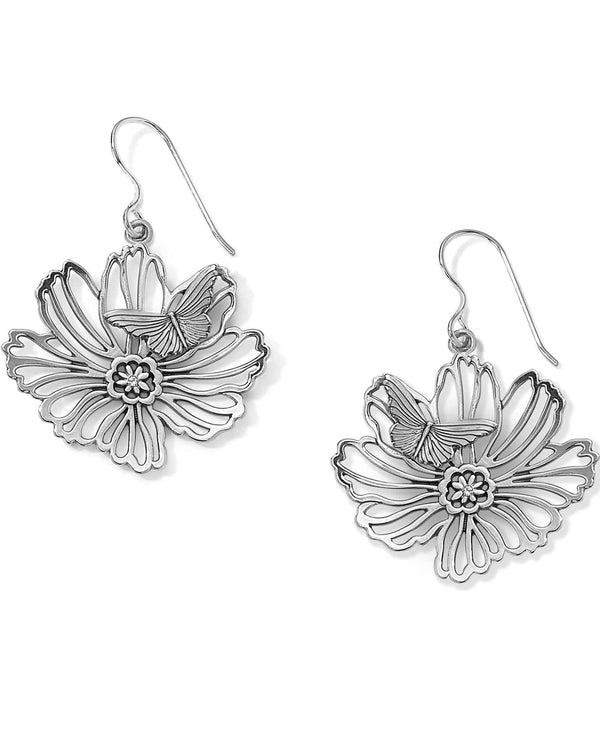 Brighton JA5290 Enchanted Garden French Wire Earrings with flowers and butterflies