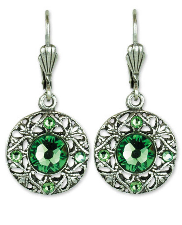Anne Koplick ES3237 Stoned Fila Disk Earring round emerald green Swarovski crystal earrings