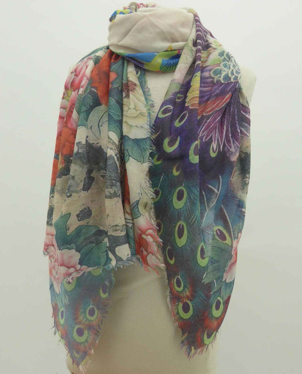 02103301 Multi Bird and Peony Scarf colorful peony and peacock summer scarf