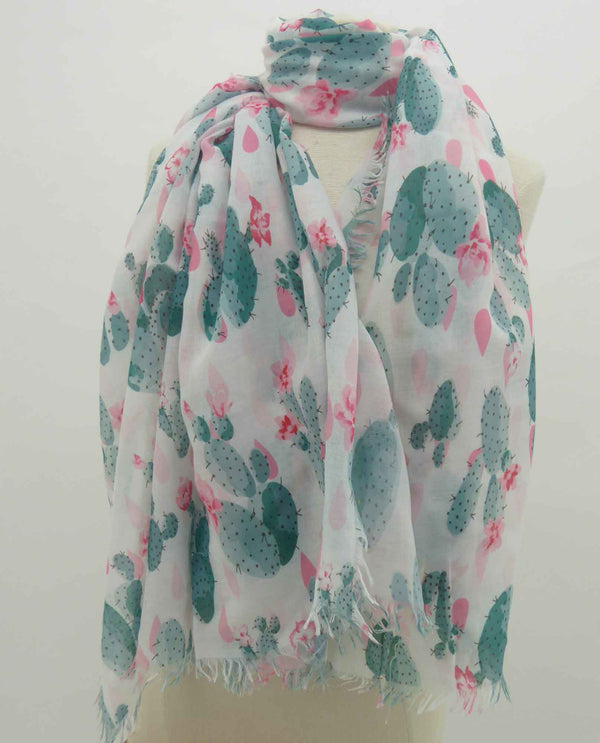 02103902 Cactus Scarf lightweight summer scarf with pink cactus flowers