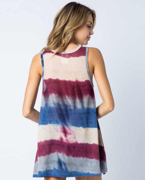 Vocal 17965T Stripe Tank with Stones red white and blue tank top with rhinestones