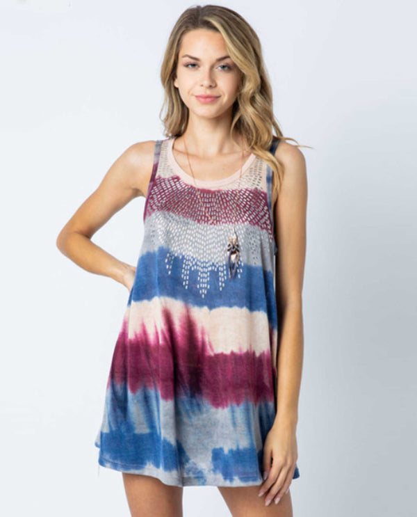 Vocal 17965T Stripe Tank with Stones red, white and blue tie dye tank top with rhinestones