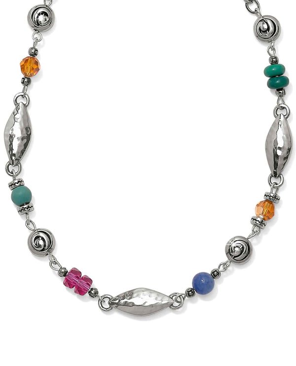 Brighton JM0893 Barbados Tropic Short Necklace short silver necklace with colorful beads