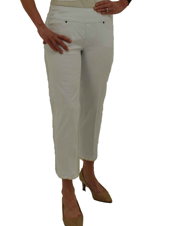 Slim-Sation M27710PM white Wide Band Pull on Crop Pants