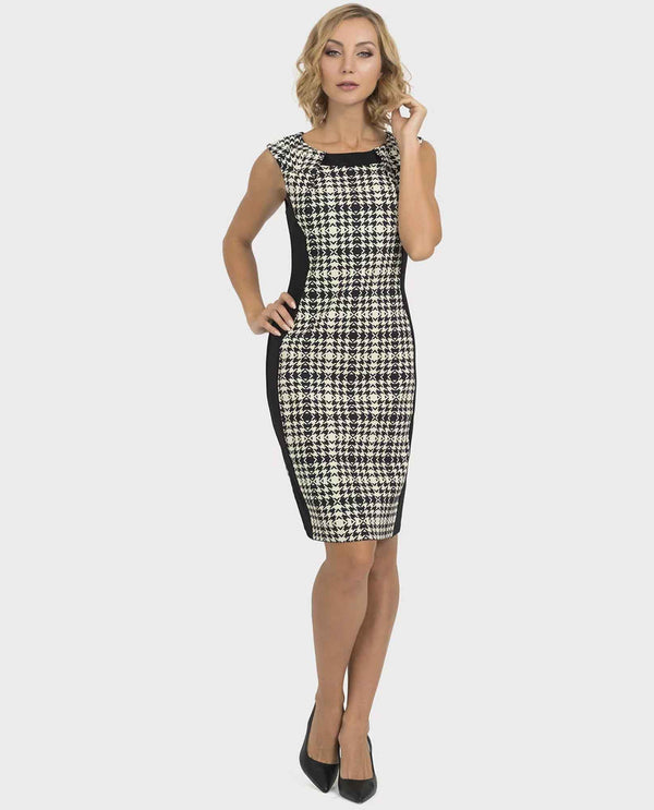 Joseph Ribkoff 193843 Sleeveless Dress with Print Panel sleeveless plaid dress with black sides