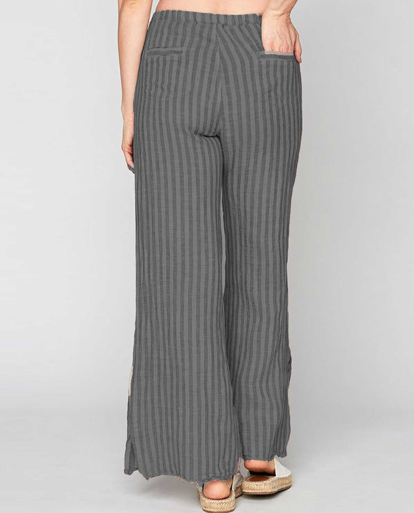 XCVI Wearables 22267 Delta Stripe Trouser grey striped relaxed fit pants