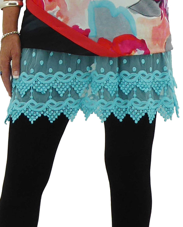 Kaktus 55066 Lace Under aqua blue layering tank with lace