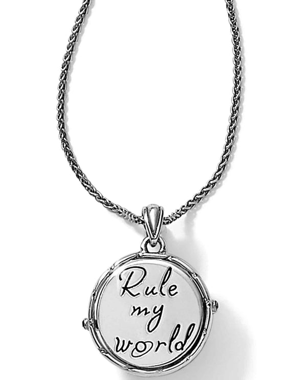 Brighton JM0303 Halo Odyssey Round Necklace blue quartz necklace that says rule my world