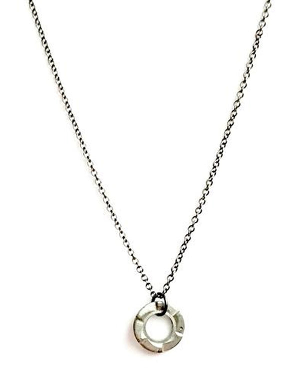 Mend On The Move Stay The Course Necklace handmade necklace with a small washer on a gunmetal chain