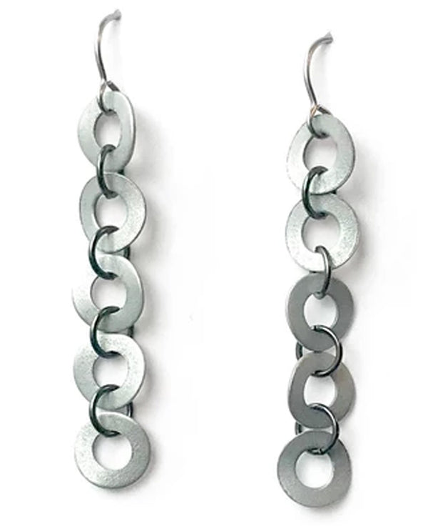 Mend On The Move Cascade Earring silver upcycled earrings made with small metal washers