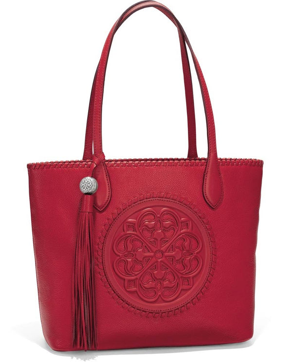 Brighton H35437 Gabriella Medallion Tote in Lipstick has art inspired by the rose windows of Europe's cathedrals and tassel