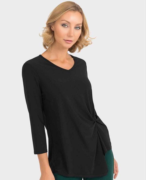 Black Joseph Ribkoff 193138 Knot Detail V-Neck Top