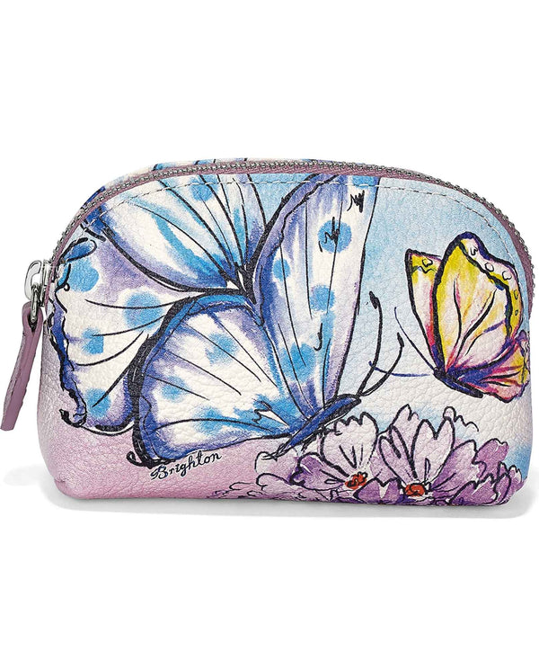 Brighton E4223M Enchanted Garden Mini Coin Purse leather coin purse with butterflies and flowers