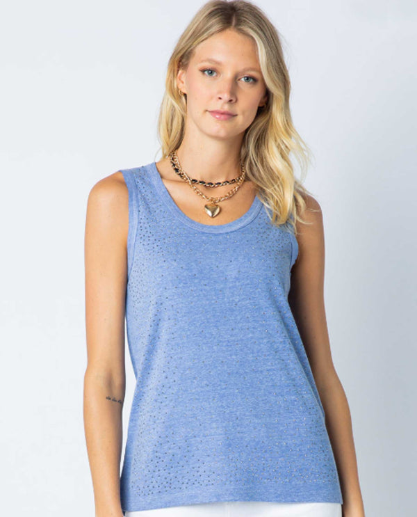 Vocal 17906T Basic Tank with Stones Denim