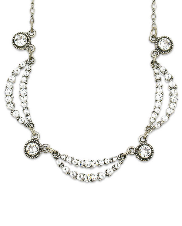 Anne Koplik NS3104 Waving Vines Necklace silver collar necklace with clear Swarovski