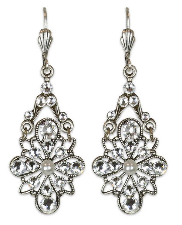 Anne Koplick ES7605PRL Stoned Fila Earring elegant silver earrings with clear Swarovski